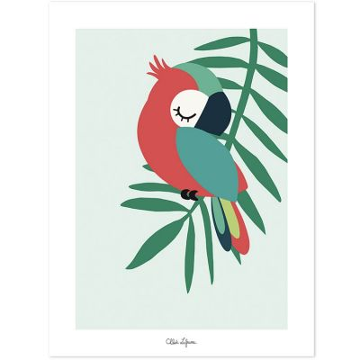 Affiche perroquet vert (30 x 40 cm)  par Lilipinso