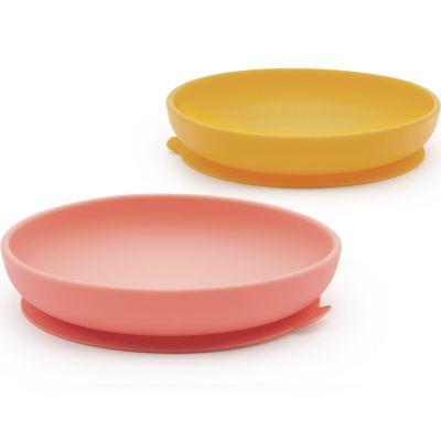 Lot de 2 assiettes à ventouse en silicone mimosa/coral  par EKOBO
