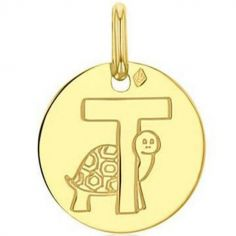 Médaille T comme tortue personnalisable (or jaune 750°)
