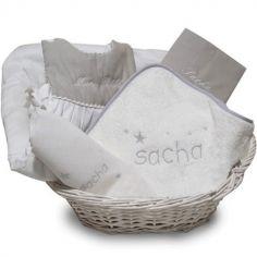 Coffret de naissance corbeille gris (personnalisable)