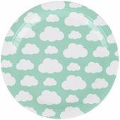 Assiettes en carton nuages aqua (8 pièces) - My Little Day