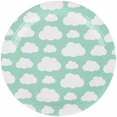 Assiettes en carton nuages aqua (8 pièces)