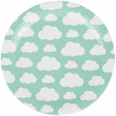 Assiettes en carton nuages aqua (8 pièces)  par My Little Day