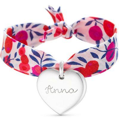 Bracelet enfant Liberty avec coeur personnalisable (argent 925°)  par Merci Maman