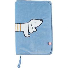 Protège carnet de santé veloudoux Aston & Jack chien bleu