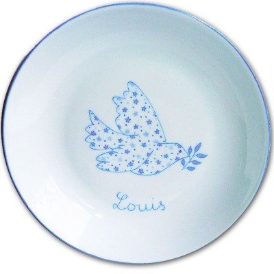Assiette creuse Colombe en Liberty Etoiles bleu  par Laetitia Socirat