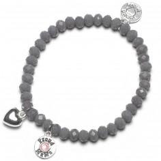 Bracelet Charm coeur perles grises charm rose