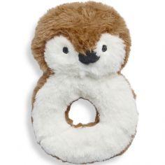 Hochet peluche Pingouin caramel