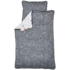 Drap de berceau (70 x 100 cm) et taie (40 x 45 cm) Sleepy gris