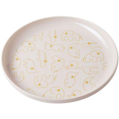 Assiette plate Yummy Contour rose et or  par Done by Deer