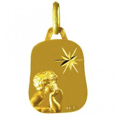 Médaille trapèze Ange rêveur étoile 15 mm (or jaune 750°)