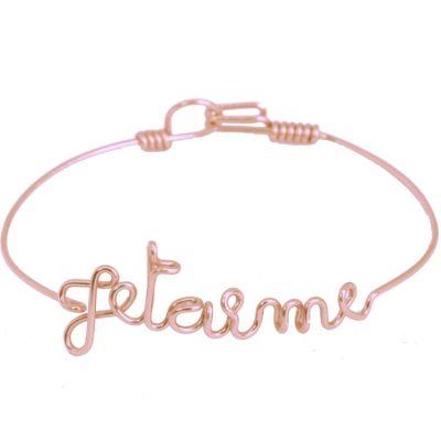 Bracelet Je t'aime en fil Gold-filled or rose 585° (15 cm)
