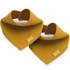 Lot de 2 bavoirs bandana Brick velvet moutarde