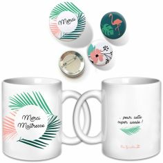 Ensemble Maîtresse avec mug et badges Jungle
