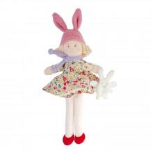 Poupée bonnet lapin robe Liberty rouge (22 cm)  par Trousselier