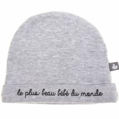 Bonnet de naissance coton doublé Le plus beau bébé gris , BB \u0026 Co