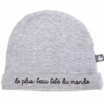 Bonnet de naissance coton doublé Le plus beau bébé gris  par BB & Co