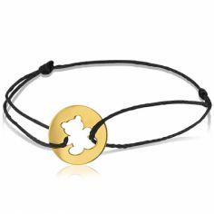 Bracelet cordon enfant Ourson (or jaune 750°)