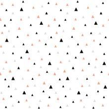 Papier peint petits triangles noirs et corail by Claudia Soria  par Lilipinso