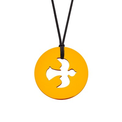 Collier cordon médaille Signes Colombe 16 mm (or jaune 750°) Maison La Couronne