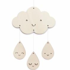 Petit mobile décoratif en bois nuages et gouttes