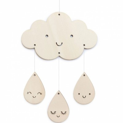 Petit mobile décoratif en bois nuages et gouttes  par Zü