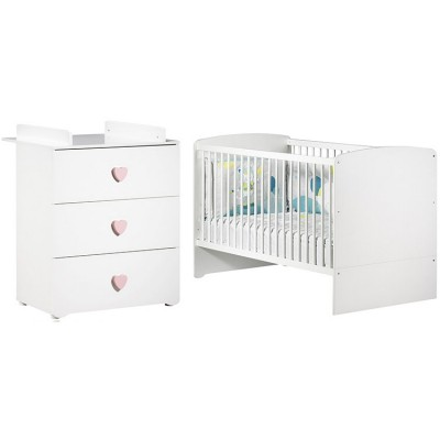 Pack duo lit bébé évolutif Little Big Bed blanc et commode à langer coeur rose New Basic Baby Price