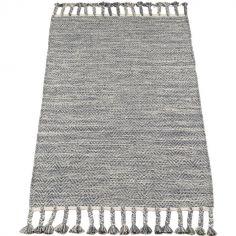 Tapis rectangulaire avec franges gris (70 x 140 cm)
