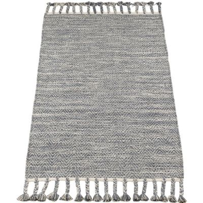 Tapis rectangulaire avec franges gris (70 x 140 cm) Kids Depot