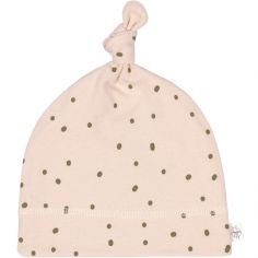 Bonnet en coton bio Cozy Colors pointillés rose poudrée (0-2 mois)