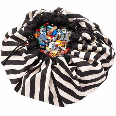 Sac à jouets 2 en 1 Printed Colors Rayures noires  par Play&Go