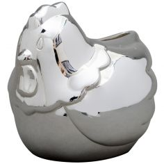 Tirelire petit poussin personnalisable (métal argenté)