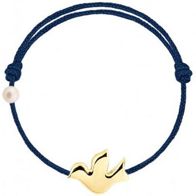 Bracelet cordon Colombe et perle bleu marine (or jaune 750°)  par Claverin
