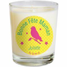 Bougie Fête des Mères jaune vif oiseau (personnalisable)