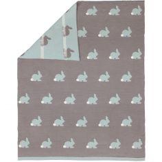 Couverture bébé lapin en jacquard de coton (80 x 100 cm)