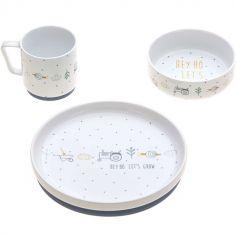 Coffret repas en porcelaine bleu Garden Explorer (3 pièces)