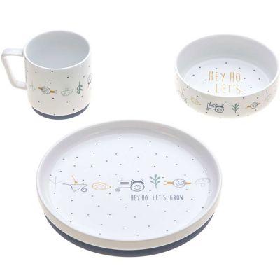 Coffret repas en porcelaine bleu Garden Explorer (3 pièces)  par Lässig