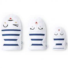 Lot de 3 gants de toilette blancs rayures bleues