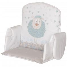 Coussin de chaise haute en tissu avec accoudoir mouton