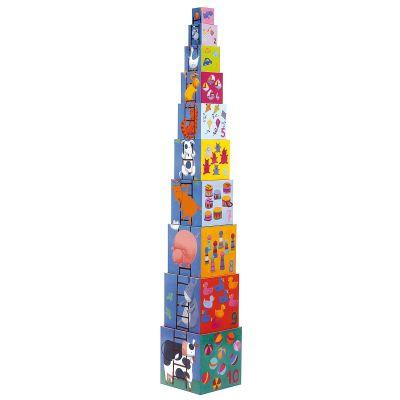 Cubes empilables Rigolo (10 pièces)  par Djeco