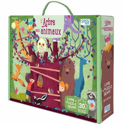 Livre et puzzle géant L'arbre aux animaux Sassi Junior