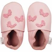 Chaussons en cuir Soft soles papillons rose (3-9 mois) - Bobux
