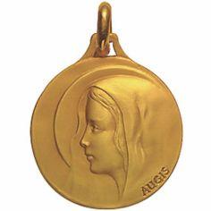 Médaille 16 mm Vierge auréolée (or jaune 750°)