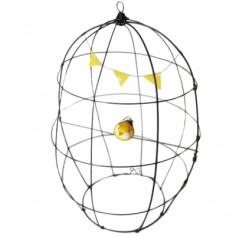 Cage décorative en fil de fer et guirlande fanion jaune