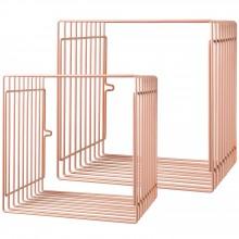 Etagères fil métal carrées roses (lot de 2)   par Done by Deer