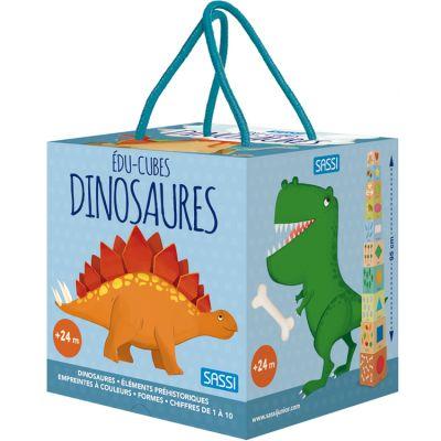 Livre + cubes à empiler Eco-cubes Les dinosaures Sassi Junior
