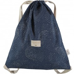 Sac à ficelles Koala coton bio Gold bubble Night blue