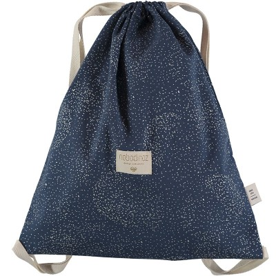 Sac à ficelles Koala coton bio Gold bubble Night blue  par Nobodinoz