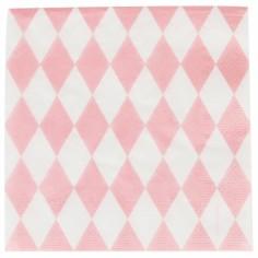 Serviettes en papier losanges roses (20 pièces)