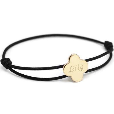 Bracelet cordon maman trèfle (plaqué or)  par Petits trésors